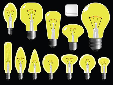 light bulbs shapes against black background, abstract vector art illustration Ilustrace
