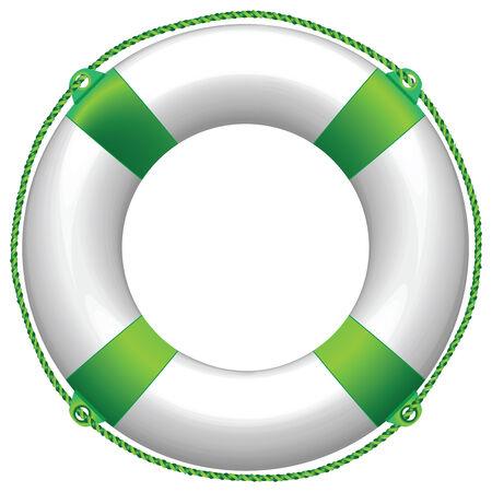 aro salvavidas: boya de vida verde sobre fondo blanco, ilustraci�n de arte abstracto de vector Vectores