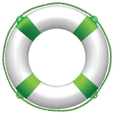 СОС: green life buoy against white background, abstract vector art illustration