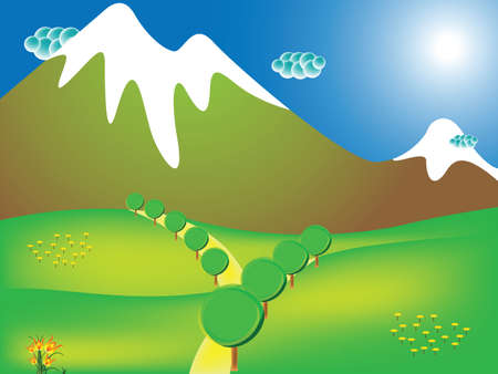 road to the mountains, abstract vector art illustration