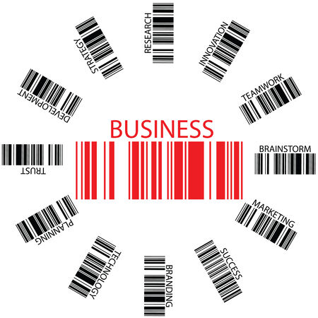 against abstract: business bar codes against white background, abstract art illustration