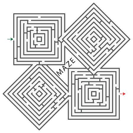 squares maze against white background, abstract art illustration 版權商用圖片 - 8734456