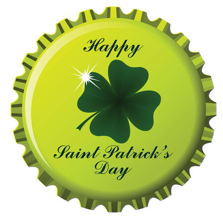 fourleafed: happy saint patricks day theme on bottle cap against white background; abstract vector art illustration