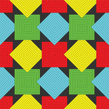 kaleidoscope: squares pattern, abstract seamless texture, art illustration Illustration