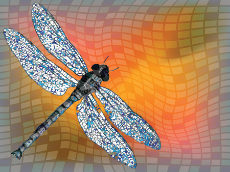 dragon fly against squared texture, abstract art illustration