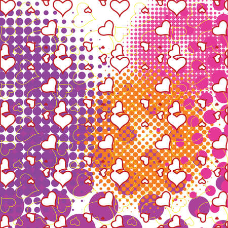 hearts and half tone bubbles pattern, abstract art illustration