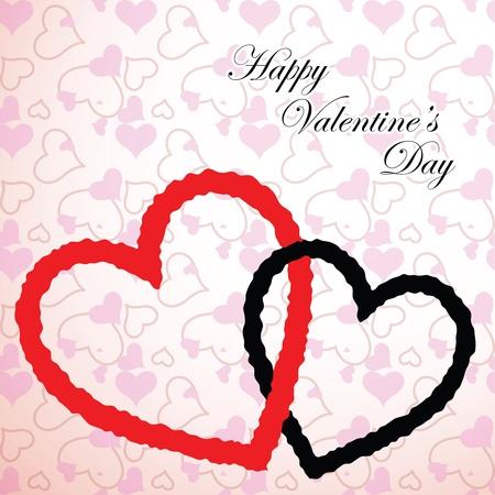 valentine hearts card, abstract art illustration