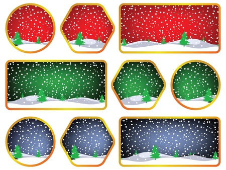 winter labels against white background, abstract art illustration Stock Photo