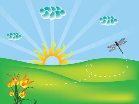 natuur landschap met bloemen en dragonfly, abstract vector kunst illustratie Stock Illustratie