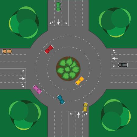 ronda de intersección, coches y árboles; Ilustración de arte abstracto de vectores