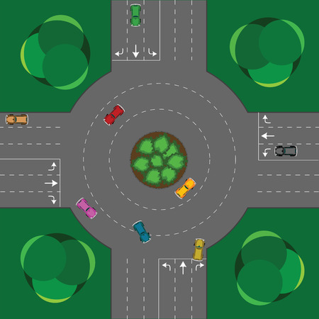 contrasts: round intersection, cars and trees; abstract vector art illustration Illustration