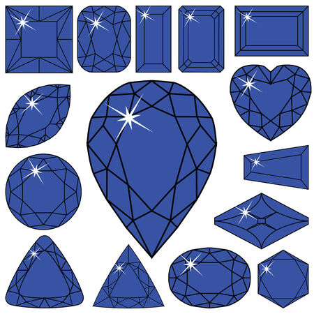 blue diamonds collection against white background, abstract vector art illustration Vector