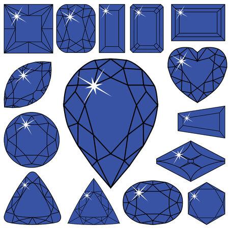 blue diamonds collection against white background, abstract vector art illustration Illusztráció