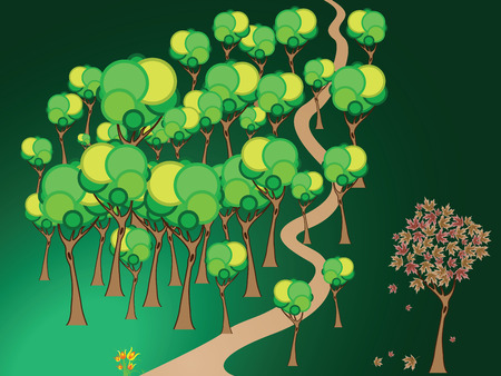 forest path, abstract vector art illustration