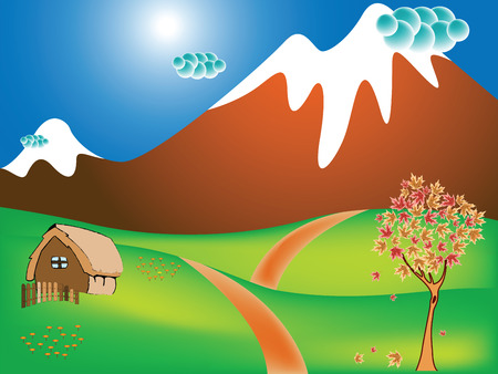 autumn landscape with rural scene, mountains, fields and road; abstract vector art illustration