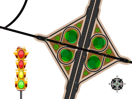 highway exit, aerial view with traffic lights and wind rose; abstract vector art illustration Vector