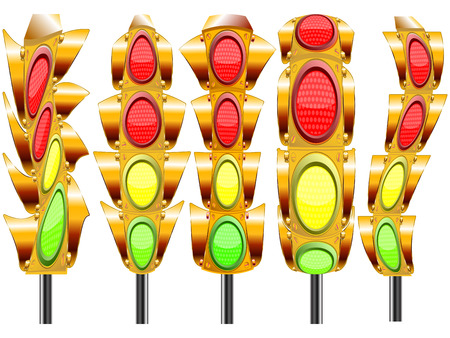 stylized traffic lights with four lights against white background, abstract vector art illustration Stock Vector - 8899956