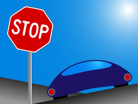 car and stop sign, funny drawing; abstract vector art illustration Vector