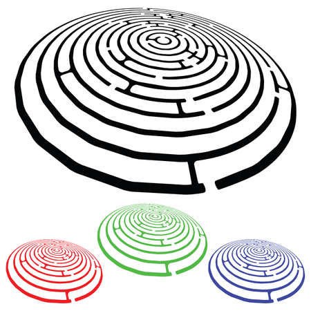 mazes design elements against white background, abstract vector art illustration illustration