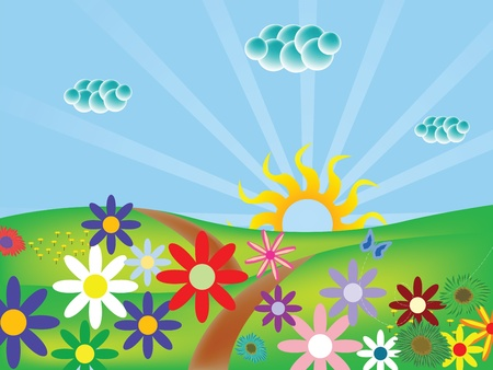 spring landscape with flowers and butterfly, abstract vector art illustration