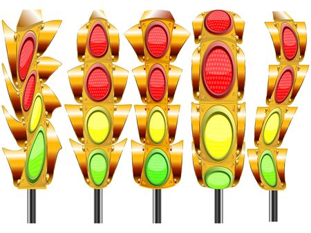 stylized traffic lights with four lights against white background, abstract vector art illustration Stock Illustration - 8985484