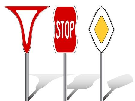 gestileerde verkeersborden tegen witte achtergrond, abstracte vectorkunstillustratie