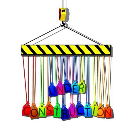 under construction tags hanging on a hook, abstract vector art illustration illustration