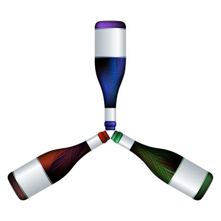 trio: wine bottles trio, abstract composition; vector art illustration Stock Photo