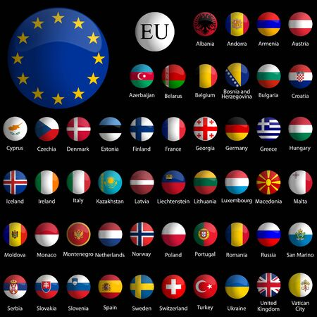 europe glossy icons collection against black background, abstract vector art illustration Vectores