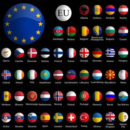 bandiere del mondo: collezione di icone lucido Europa su sfondo nero, illustrazione di arte astratta vettoriale