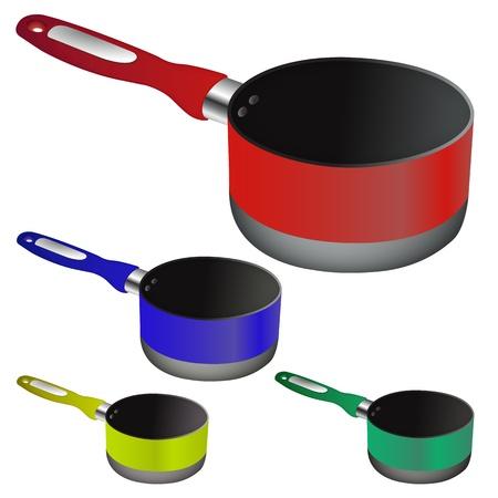 pans against white background, abstract vector art illustration Illustration