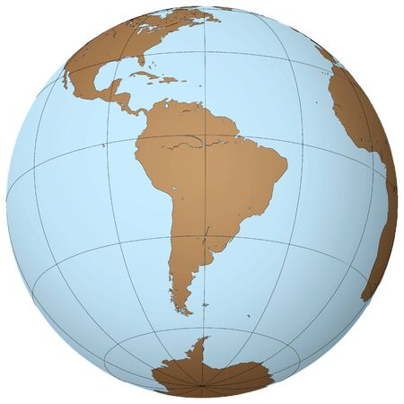 Zuid-Amerika op aarde, abstract vector kunst illustratie Stock Illustratie