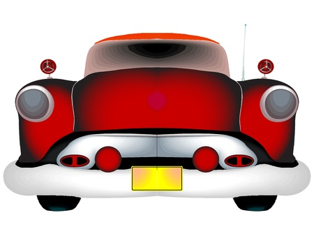 detail: red classic car against white background, abstract vector art illustration