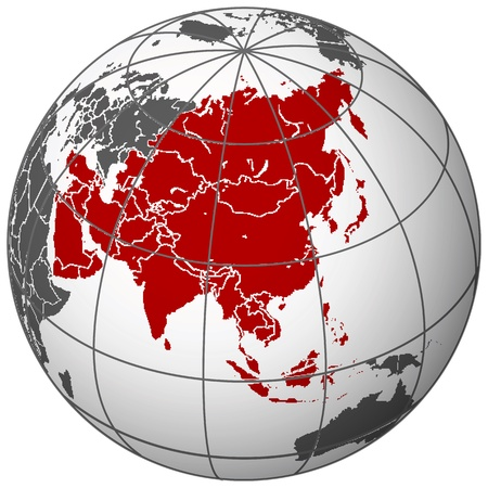 asia on earth, abstract vector art illustration Vectores