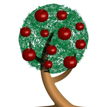 apple tree cartoon, abstract vector art illustration Stock Vector - 9368625
