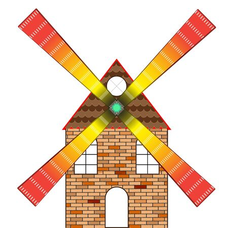 wind mill house against white background, abstract vector art illustration