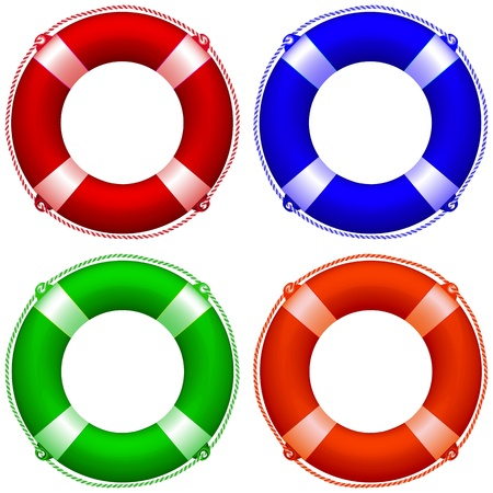 rubber ring: life buoy collection against white background, abstract  art illustration Illustration