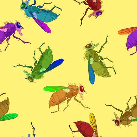 musca: flies pattern, abstract seamless texture, art illustration