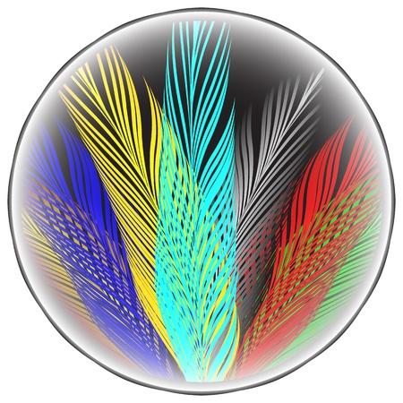 pastel tone: wavy medallion, abstract art illustration Illustration