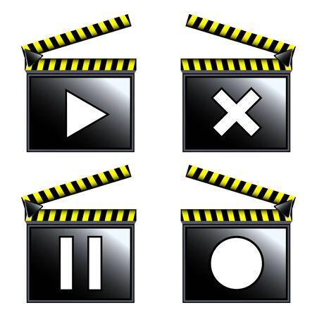 movie cinema clapboard icons, art illustration Stock Vector - 9553855