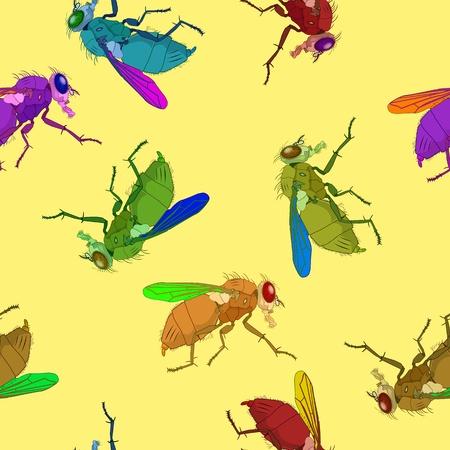 musca: flies pattern, abstract seamless texture; vector art illustration