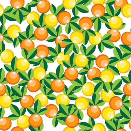 oranges and lemons pattern, abstract seamless texture; vector art illustration