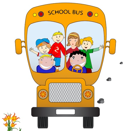school bus with children, abstract vector art illustration illustration