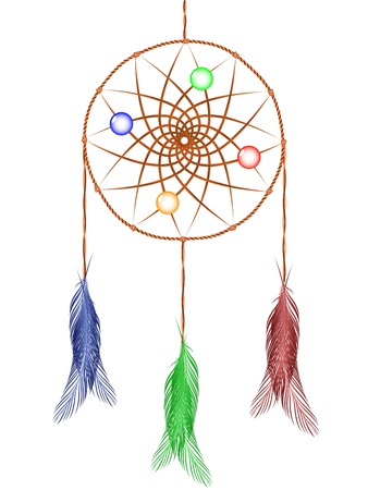 dream catcher against white background, abstract vector art illustration
