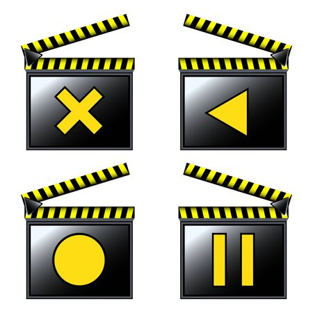 movie cinema clapboard icons; vector art illustration