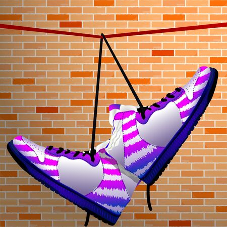 hanging shoes over wall background, abstract vector art illustration Vector