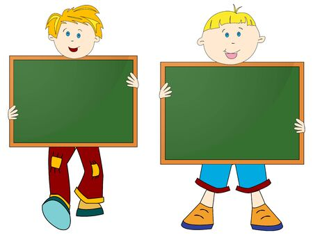 boys and banners with chalk boards against white background, abstract vector art illustration