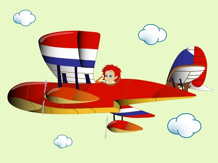 kid flying airplane Vector