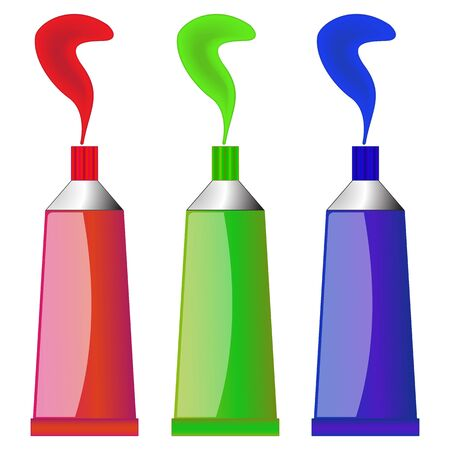 color tubes against white background, image contains gradient mesh and transparency