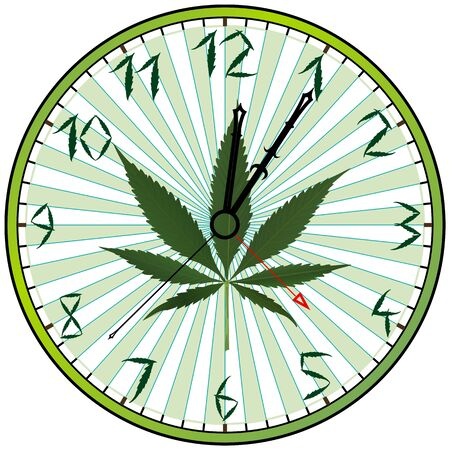 cannabis green clock against white background photo